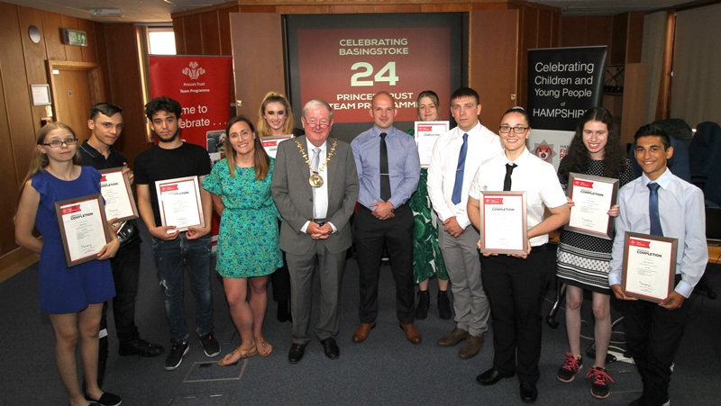 Prince's Trust group with the Mayor, Cllr Keating