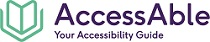 Image of the outline of an open book with the text 'AccessAble - Your Accessibility Guide'.