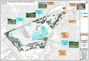 Plan sketch Popley Community Park play and recreational facilities