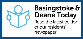 Image with the text 'Basingstoke & Deane Today - Read the latest edition of our residents' newspaper'. It also includes an image of the outline of a person holding open a newspaper. The image links to the Basingstoke & Deane Today page.