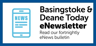 Image with the text 'Basingstoke & Deane Today eNewsletter - Read our fortnightly eNews bulletin '. It also includes an image of a mobile device with the text News displayed. The image links to the eNewsletter page.