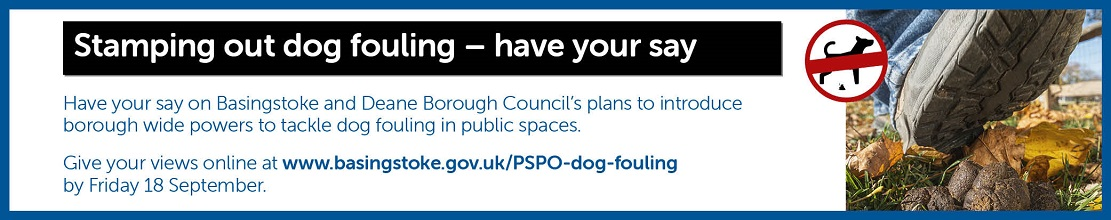 Banner with information on how to have your say about stamping out dog fouling.  It includes an image of a foot above dog fouling and a 'no dogs' sign