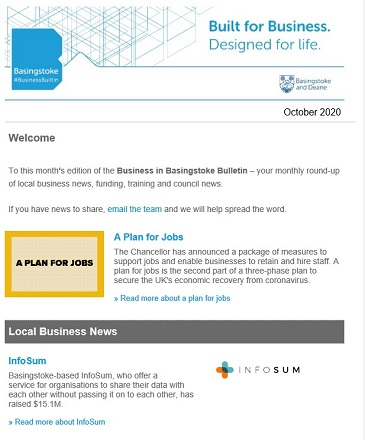 Business in Basingstoke Bulletin October 2020 (opens in a new window)