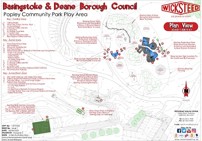 Image of Popley Community Park Plan showing where play equipment will be within the park