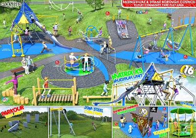 Image of Popley Community Park 3D of the play equipment